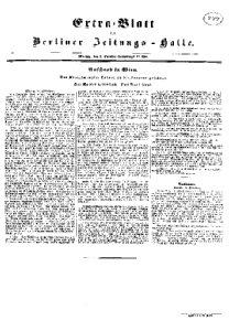 Extra=Blatt der Berliner Zeitungs-Halle. Aufstand in Wien. Der Kriegsminister Latour an die Laterne gehängt. Der Kaiser geflohen. Das Volk siegt.