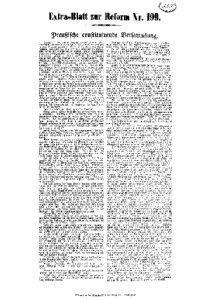 Extra=Blatt zur Reform N[umme]r 199. Preußische constituirende Versammlung.